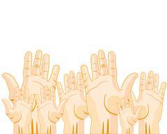 Much raised hands Stock Illustration