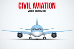 Civil Aircraft standing on the chassis - stock illustration