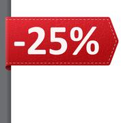 Red leather price vector bookmark 25% sale off. isolated from background. lay Stock Illustration