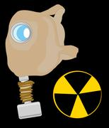 Gas mask and sign radiation Stock Illustration