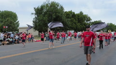 High School marching band rural community parade HD Stock Footage