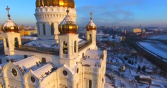 Aerial view of the impressive Cathedral of Christ the Saviour in Moscow, Russia. Stock Footage