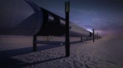 Pipeline in desert, 3D animation, nighttime. Stock Footage