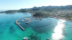 Aerial view of saint martin Marigot. Stock Footage