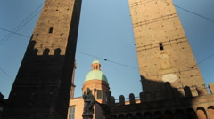 Time Lapse of Shadows casting on Garisenda and Asinelli Towers, Bologna Stock Footage