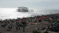 Brighton Beach on a sunny day Stock Footage
