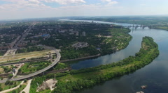 Flying over the hydroelectric power station on the Dnieper River - stock footage