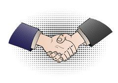 Comic shaking hands Stock Illustration