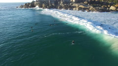 Aerial Close Up Shot of Surfer in Llandudno Beach Cape Town Stock Footage