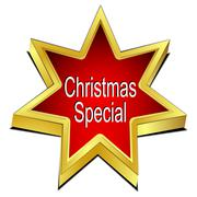 Christmas Special Star button – 3D illustration - stock illustration