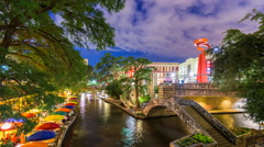 River Walk San Antonio, Texas Night Time Lapse Stock Footage