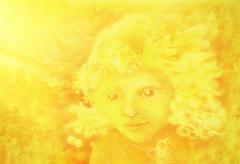 Drawing of little golden light angel face on abstract background Stock Illustration