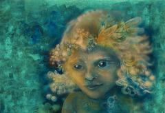 Little sweet fairy child portrait, closeup detail on abstract background Stock Illustration