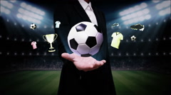 Businesswoman open palm,Soccer ball icon, football. - stock footage