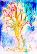 Drawing of a spiritual tree with face on abstract background Stock Illustration