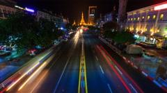 Sule Pagoda Landmark Ancient Pagoda In Night Yangon Cityscape, Myanmar Stock Footage