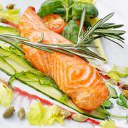 Appetizing restaurant food on  white background Stock Photos