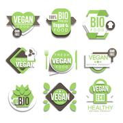 Bio Natural Vegan Product Logo Collection - stock illustration