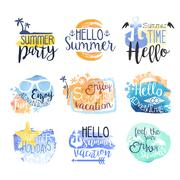 Summer Vacation Promo Signs Colorful Set - stock illustration