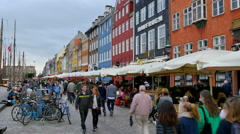 The famous Nyhavn area in Copenhagen with the beautiful colored houses Stock Footage
