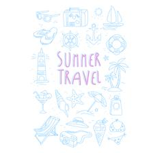 Summer Travel Related Object Set With Text - stock illustration