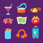 Travel Related Objects Colorful Simplified Icons Stock Illustration