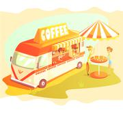 Coffee Shop Cafe In Mini Bus On Sunny Day With Outdoors Table - stock illustration