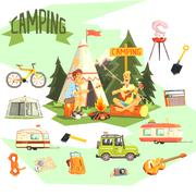 Two Guys Enjoying Camping In Forest Surrounded By Related Objects Icons - stock illustration