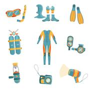 Scuba Diving Gear Set - stock illustration