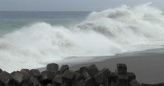 Huge Waves Break Onto Beach Before Major Hurricane Hits Stock Footage