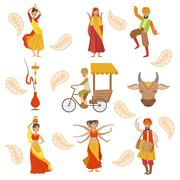 Dancing, Holy Cow And Other Indian Cultural Symbol Drawings - stock illustration