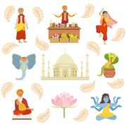 Yoga, Taj Mahal And Other Indian Cultural Symbol Drawings - stock illustration
