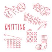 Knitting Related Object Set With Text Stock Illustration