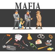 Mafia Taking Hostage And Their Equipment - stock illustration