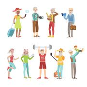 Cool And Active Old People - stock illustration