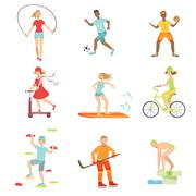 People Enjoying Physical Activities Illustrations - stock illustration