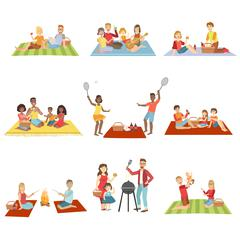 Families On Picnic Outdoors - stock illustration