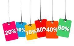 Vector colorful hanging cardboard. Tags - discount Stock Illustration