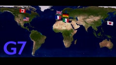Flags of G7 countries Stock Footage