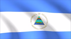 Flag of Nicaragua with gold embossed Stock Footage