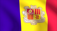 Flag of Andorra with gold embossed Stock Footage