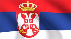 Flag of Serbia with gold embossed Stock Footage