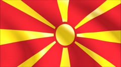 Flag of Macedonia with gold embossed Stock Footage