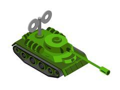 Toy Tank Isometric on white background. Military machine clockwork plaything Piirros