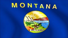 Flag of Montana with gold embossed Stock Footage