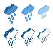 Cloud Isometric icon for Meteo applications. Weather rain. Stock Illustration