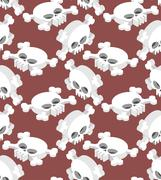 Isometric Skull seamless pattern. Head skeletal pattern. Crossbones texture.  Stock Illustration