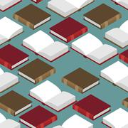 Book Isometric seamless pattern. Red and green cover. read volume - stock illustration