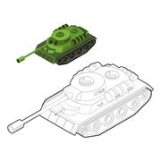 Tank coloring book. Army equipment in linear style. Armored fighting vehicles Stock Illustration
