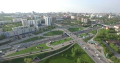 Road junction in Ufa - aerial view Stock Footage